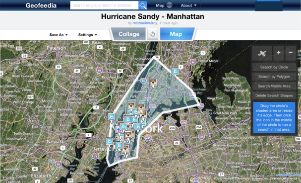 Geofeedia screenshot of Manhattan during Hurricane Sandy.