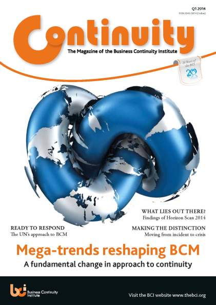 Business Continuity Institute Continuity Magazine Q1 2014