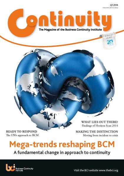 Business Continuity Institute Continuity Magazine Q1 2014